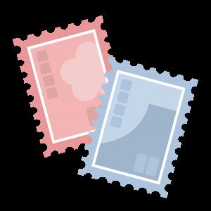 シンプルな青とピンクの切手