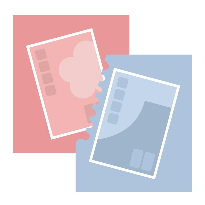 シンプルな青とピンクの切手のイラスト