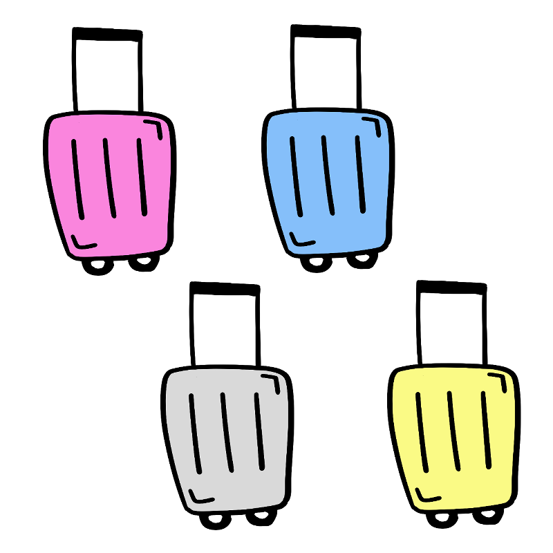 4種類のスーツケースのイラスト