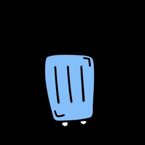 青色のスーツケースのイラスト