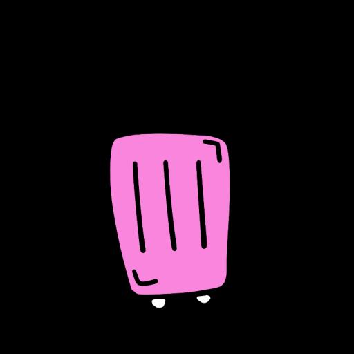 ピンク色のスーツケースのイラスト