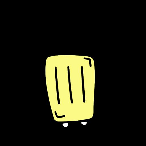 黄色いスーツケースのイラスト