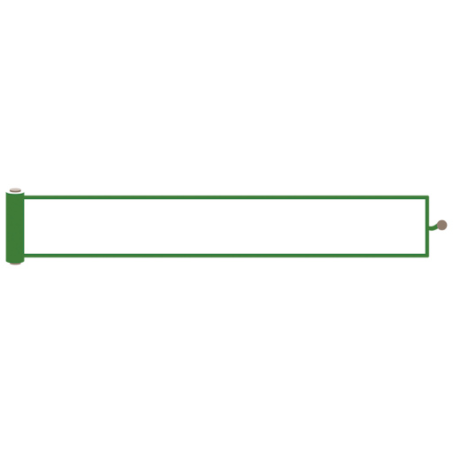 緑色の巻物風の縦長ボトムテロップのイラスト