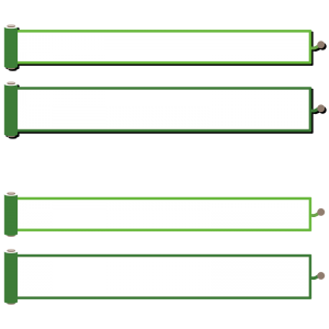 緑色の巻物風のボトムテロップセットのイラスト素材