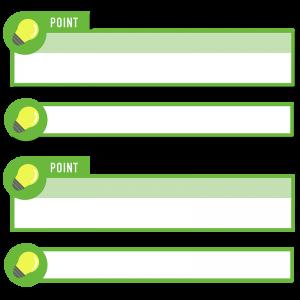 緑色の電球アイコンのボトムテロップセットのイラスト素材