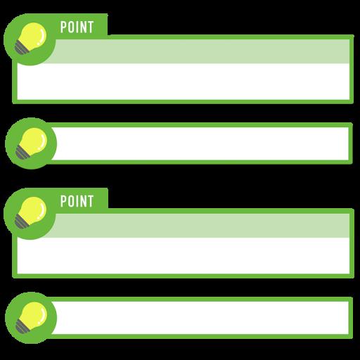 緑色の電球アイコンのボトムテロップセットのイラスト