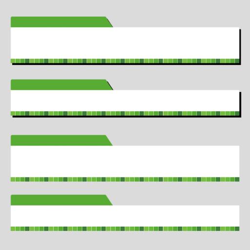 タイル柄の緑色ボトムテロップセットのイラスト