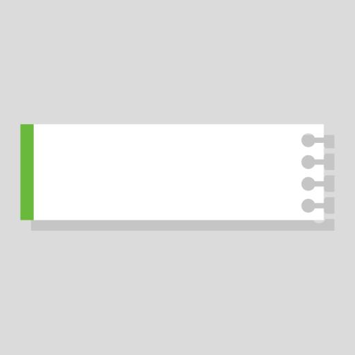 緑色のノート風の右上テロップのイラスト