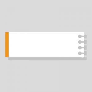 オレンジ色のノート風の右上テロップのイラスト
