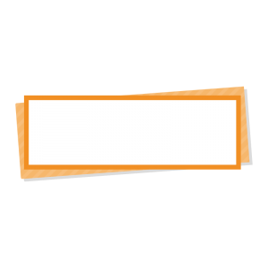 オレンジ色の折り紙風の右上テロップのイラスト