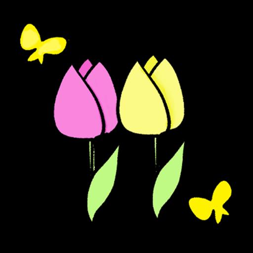 ピンクと黄色のチューリップのイラスト