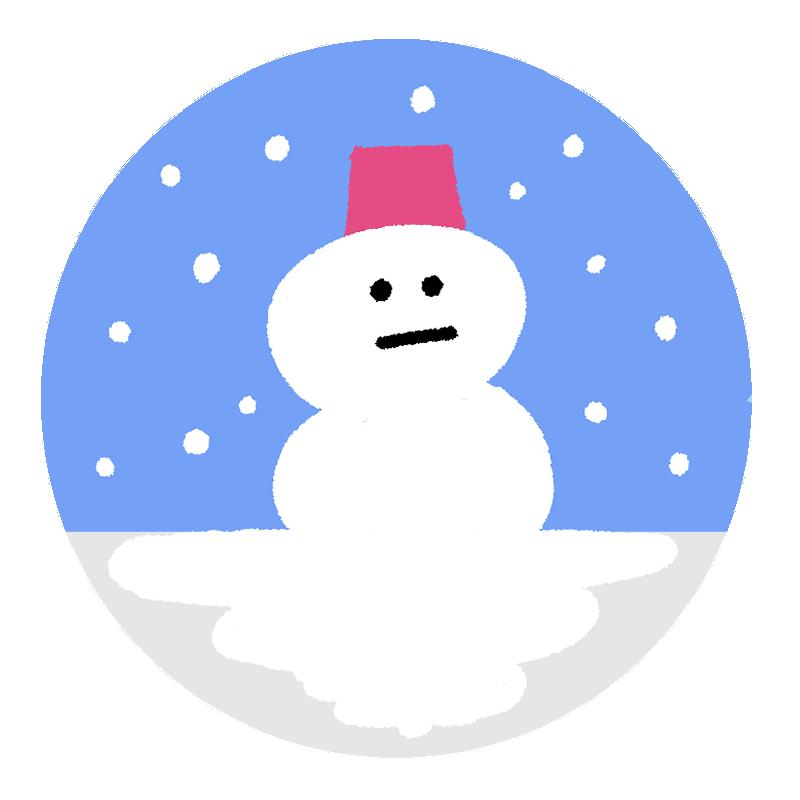 アイコン風の雪だるまイラスト