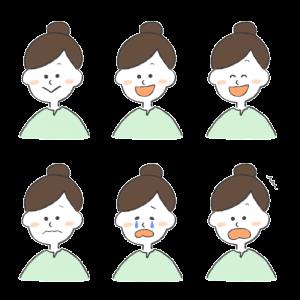 女性のいろんな表情をまとめたイラスト