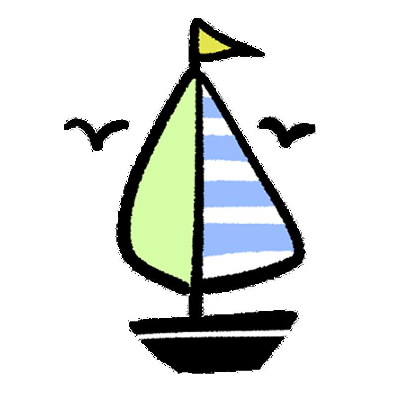 カモメとヨットのイラスト