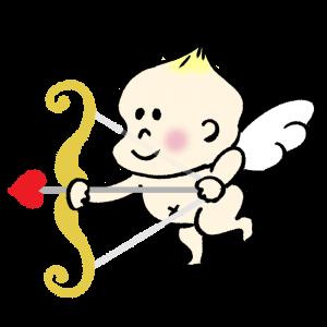 天使がハートの矢を打とうとしているイラスト