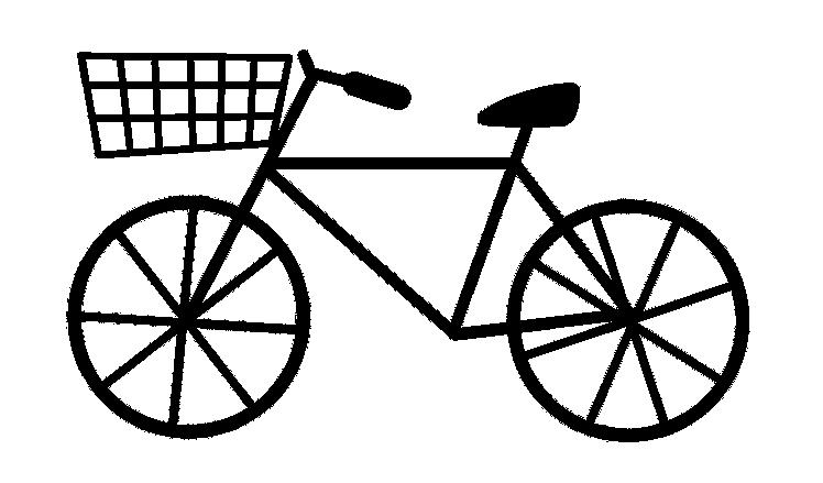 モノクロの自転車のイラスト