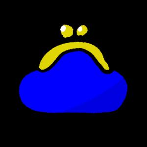 青いがま口財布のイラスト