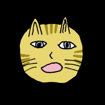 ヘタウマなネコの顔のイラスト