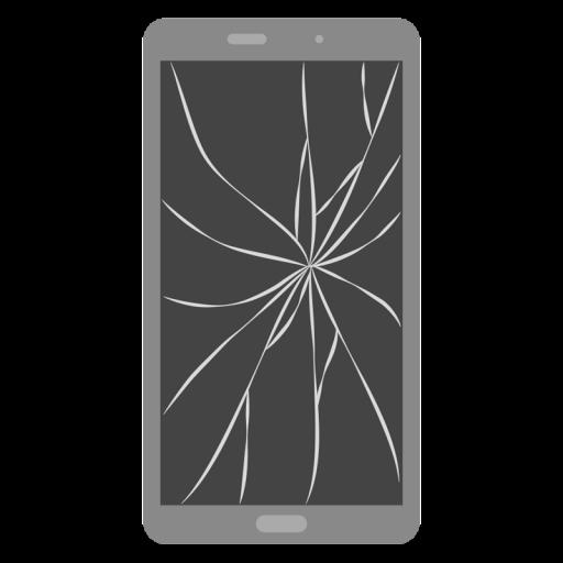 画面がひび割れたスマートフォンのイラスト