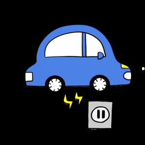 電気自動車を充電しているイラスト