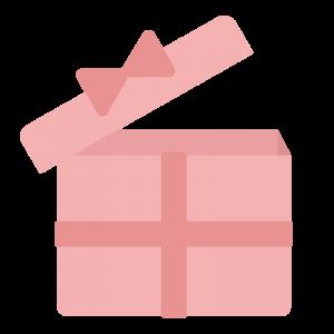 ピンク色の蓋の開いたプレゼントボックスのイラスト