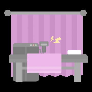 ピンク色のカーテンと脱毛の機械のイラスト