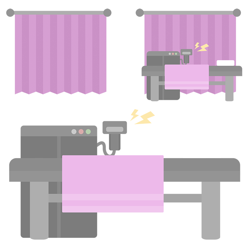 ピンク色のカーテンと脱毛の機械セットのイラスト