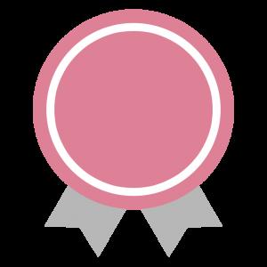 ピンクのリボン付きメダルのイラスト