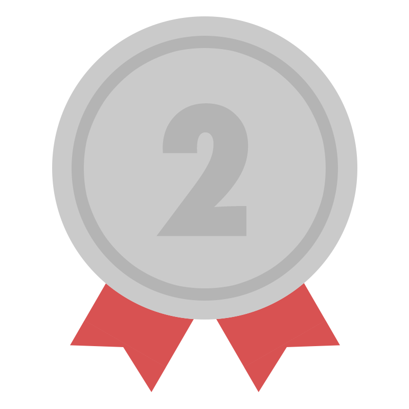 2位の銀色のリボン付きメダルのイラスト