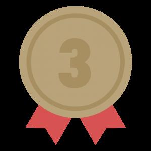 3位の茶色のリボン付きメダルのイラスト