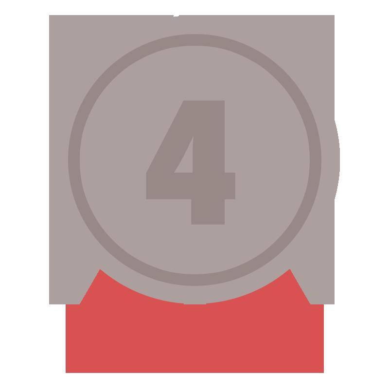 4位の茶色のリボン付きメダルのイラスト