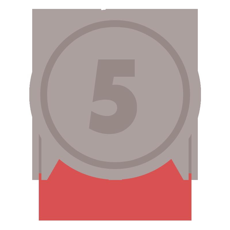 5位の茶色のリボン付きメダルのイラスト