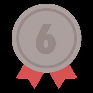 6位の茶色のリボン付きメダルのイラスト