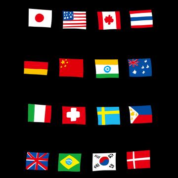 国旗のガーランドのイラスト