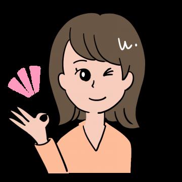 オーケーサインを出す茶髪の20代OL風女性のイラスト