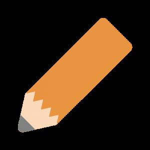 オレンジ色の丸い鉛筆のイラスト