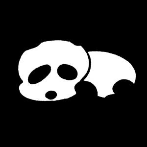 寝そべっているパンダのイラスト