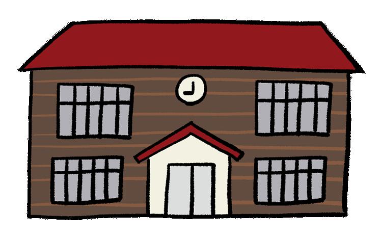 古い木造の小学校のイラスト