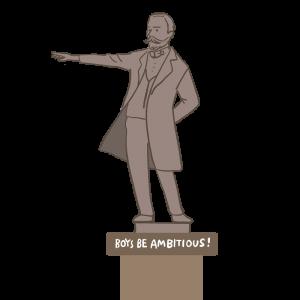 クラーク博士の銅像のイラスト