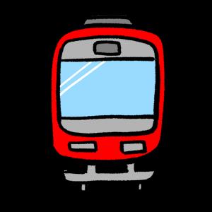 正面からみた赤い電車のイラスト
