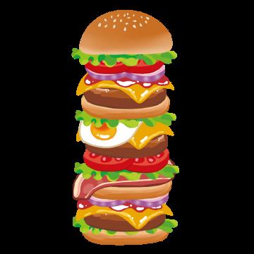 ビックサイズのハンバーガーのイラスト
