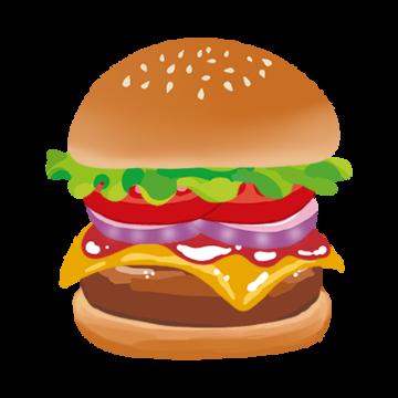野菜多めなハンバーガーのイラスト