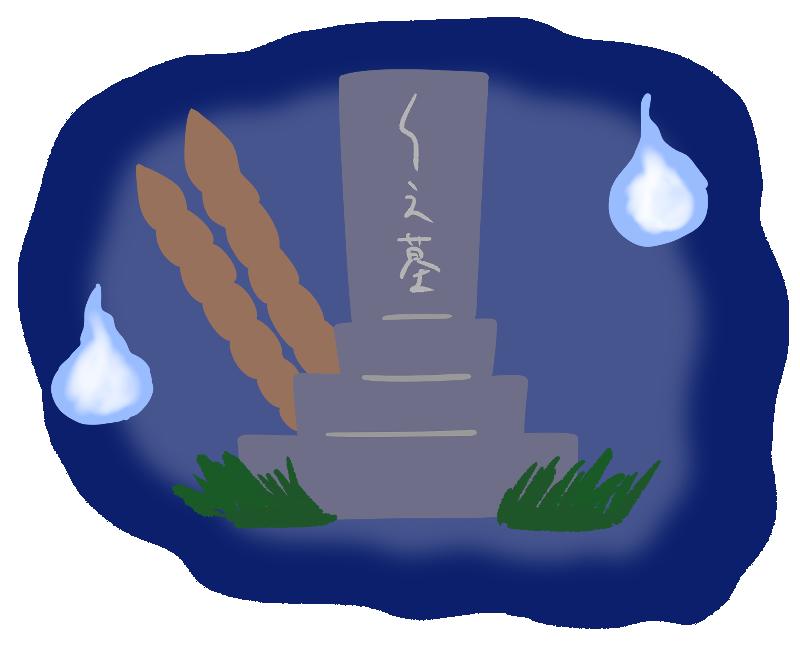 人魂が浮かんでいる墓地のイラスト