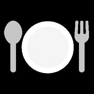 色付きのスプーン、お皿、フォークのお食事アイコンのイラスト