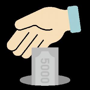 5,000円を寄付・貯金するイラスト