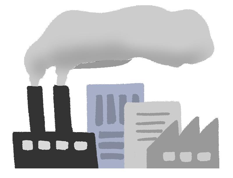 煙を出している工場のイラスト