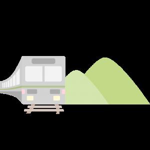 山の横を走る電車のイラスト