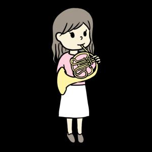 ホルンを吹く女の子のイラスト