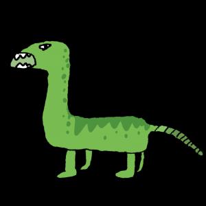 ヘタウマな緑色の恐竜のイラスト