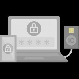 ICカードリーダーに繋がったノートパソコンとスマホのイラスト
